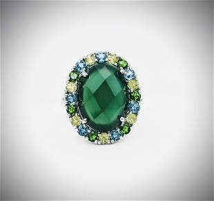 Sz 7 Jadeite Ring w Blue Topaz, Peridot & Demantoid