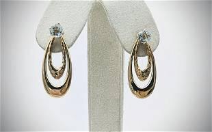 Blue Topaz Earrings w Oval Double Hoops