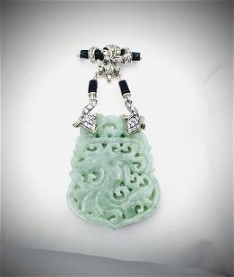 Engraved Jade Brooch w CZs & Black Faceted Stones