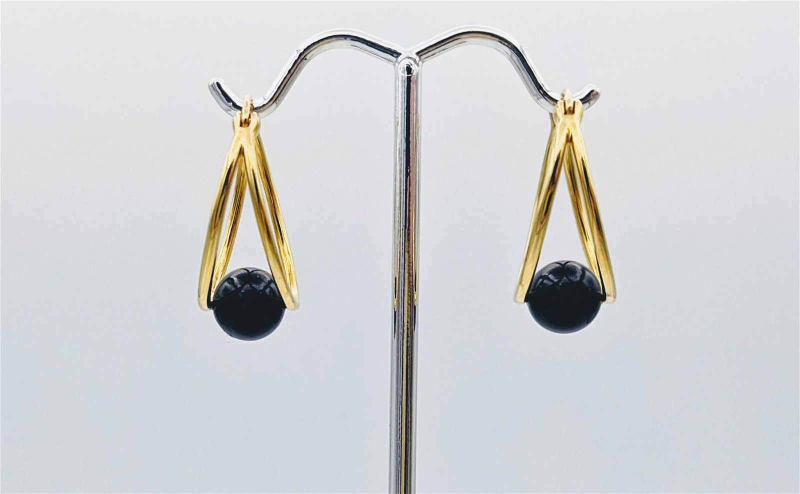 Gold Plated Oval Hoop Earrings w Black Onyx