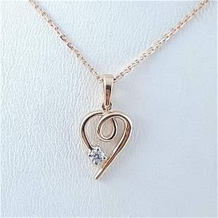 14K Pink Gold - Necklace & Pendant Set