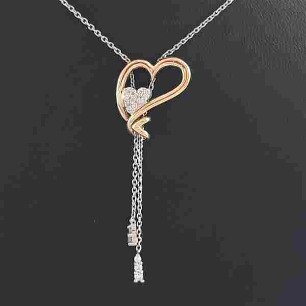 18K Yellow and White Gold - Necklace & Pendant Set