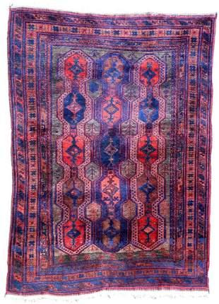 Handmade antique Afghan Baluch rug 3.9' x 5.6' (120cm x
