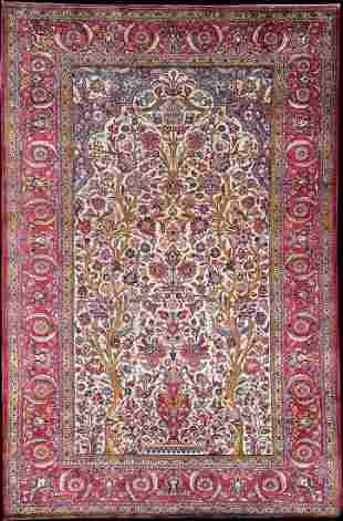 "An Antique 100% Silk Persian Kashan Rug ""Tree of Life"""