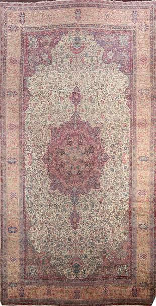 Antique Vegetable Dye Kerman Lavar Persian Rug 14x25