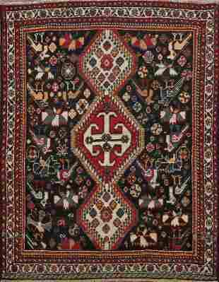 Antique Pre-1900 Tribal Bakhtiari Persian Area Rug 4x5