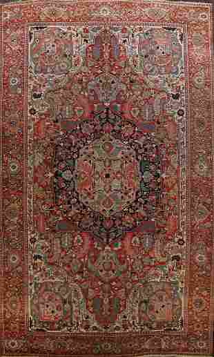 Antique Heriz Serapi Vegetable Dye Persian Area Rug