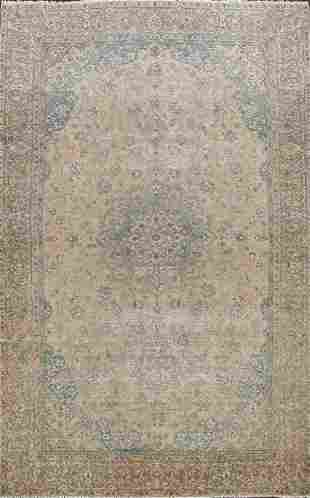 Antique Muted Floral Mashad Persian Area Rug 9x13