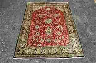 C1960s Semi Antique Silk Fine Prsian Qome Rug 3.5x5.1