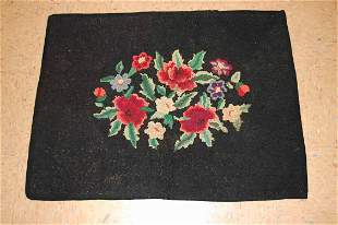"""Semi Antique Aerican Hooked Rug 2' 5"""" X 3'5"""" Hand"""