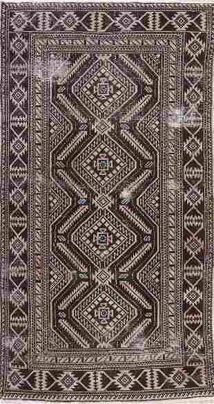 Antique Geometric Shiraz Persian Area Rug 4x7