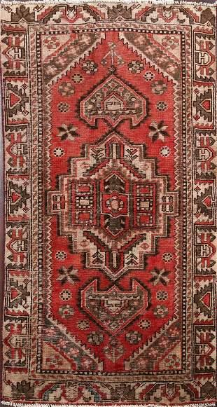 Antique Geometric Hamedan Persian Area Rug 4x6