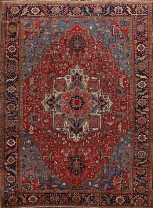 Antique Geometric Heriz Serapi Persian Area Rug 10x14