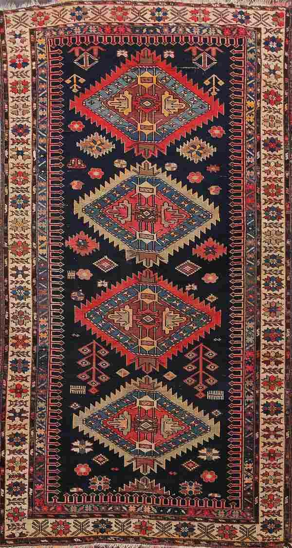 Pre-1900 Antique Vegetable Dye Kazak Oriental Area Rug