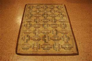 """American Hooked Rug 3'2""""x4'10"""" Wool,cotton Hand Hooked"""