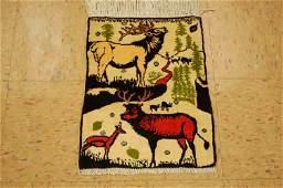 C1930s Antique Bjar Rug 1.3x1.7 Elk_deer_so Much