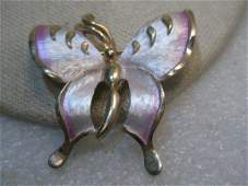 "Vintage Two Tone Butterfly Brooch, Pink Enameling, 2"","