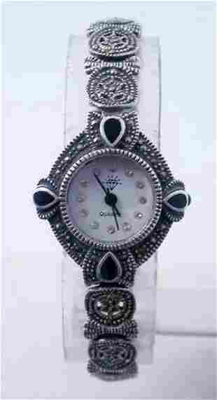 Sterling Silver Ladies Silver Watch With Marquisette