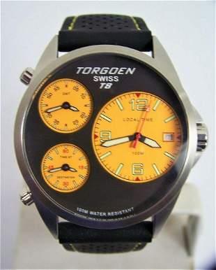 Mens TORGEON T8 Tri Time/Zone Swiss S/Steel Date