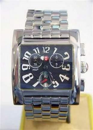 S/Steel MICHELE MW2 Square Chronograph Watch* EXLNT