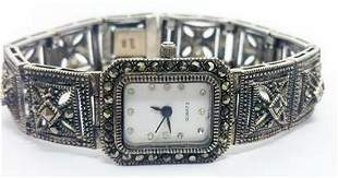 Rectangular Sterling Silver Ladies Silver Watch With