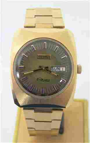 NOS Vintage 14k GP BENRUS TECHNI QUARTZ DAY DATE Watch