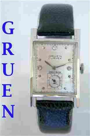 14k White GRUEN CURVEX Mens Winding Watch c.1940s in