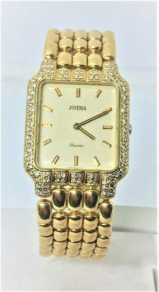 New Solid 18k Yellow Gold JUVENIA Unisex watch with
