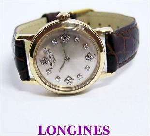 Solid 14k LONGINES Unisex Winding Watch w/Daimonds