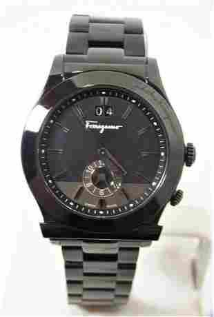 Mens SALVATORE FERRAGAMO F62 Dual Time Black IP S/Steel