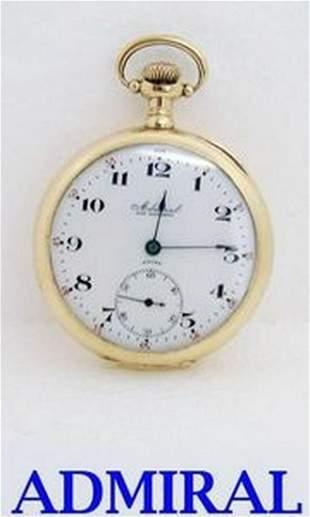 Antique Swiss Solid 14K ADMIRAL Mens 7J Pocket watch