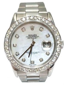 36MM ROLEX DATEJUST OYSTER PERPETUAL WHITE MOP 2.00ct