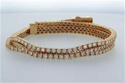 14k Rose gold tennis bracelet 3 rows with diamonds