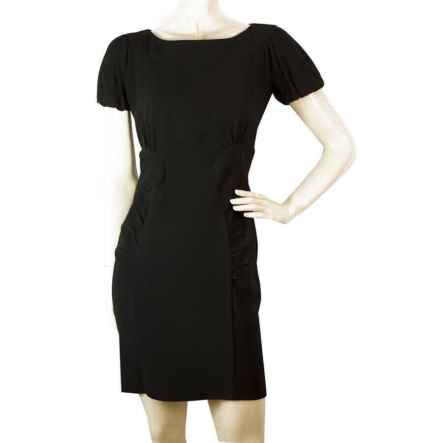 Miu Miu Black Puff Sleeves Pleat Details Mini Dress