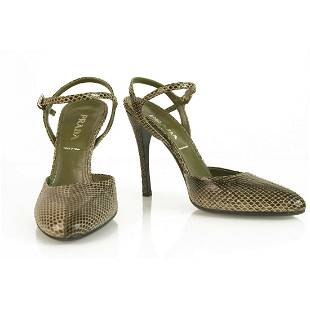 Prada Brown Snakeskin Leather Mary Janes Ankle Strap