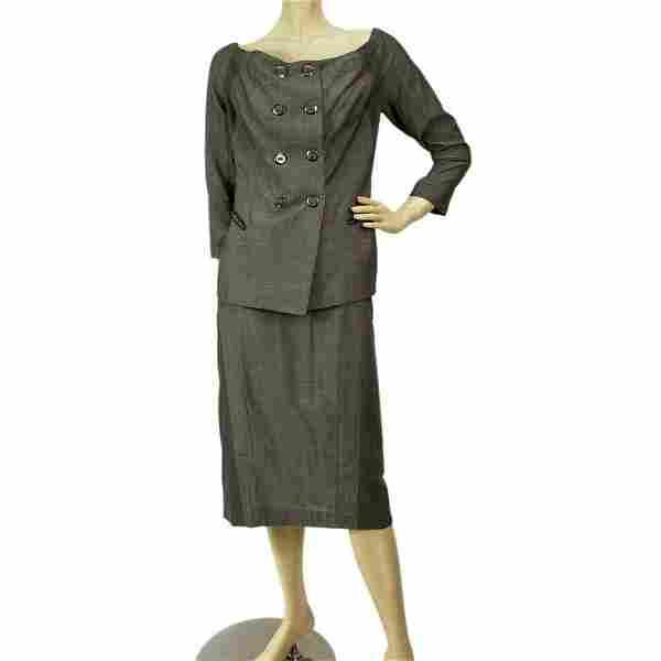 Donna Karan Gray Skirt Jacket Suit set size US 8 It 44