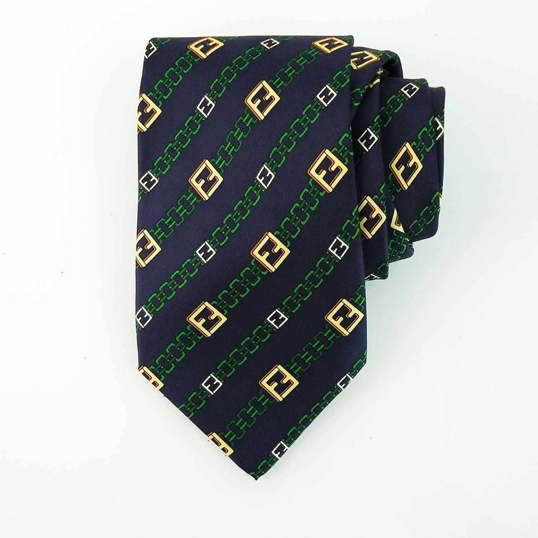 Fendi 100% Silk Blue Green Yellow Monogram FF Chain