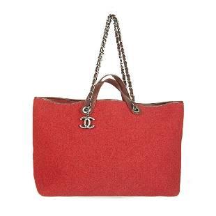 Chanel Red Large Pop Tote Quilted Felt Handbag Shopper