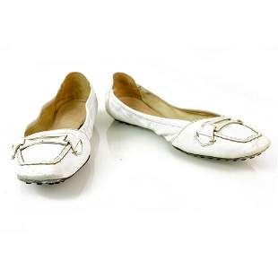 TOD'S Gommino White Leather Ballerinas Flat Moccasins