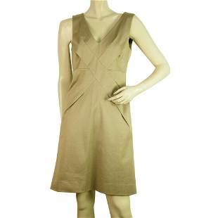 GUCCI Khaki Sleeveless Woolen Pencil Sheath Cotton