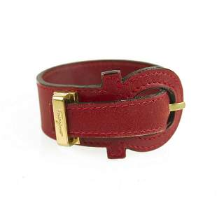 Salvatore Ferragamo Red Gancio Bracelet with Gancini