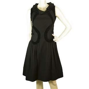 Rue Du Mail Black Wool Sleeveless Knee Length Pleated