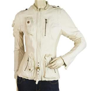 Share Spirit Off White Leather Cotton Trim Zipper
