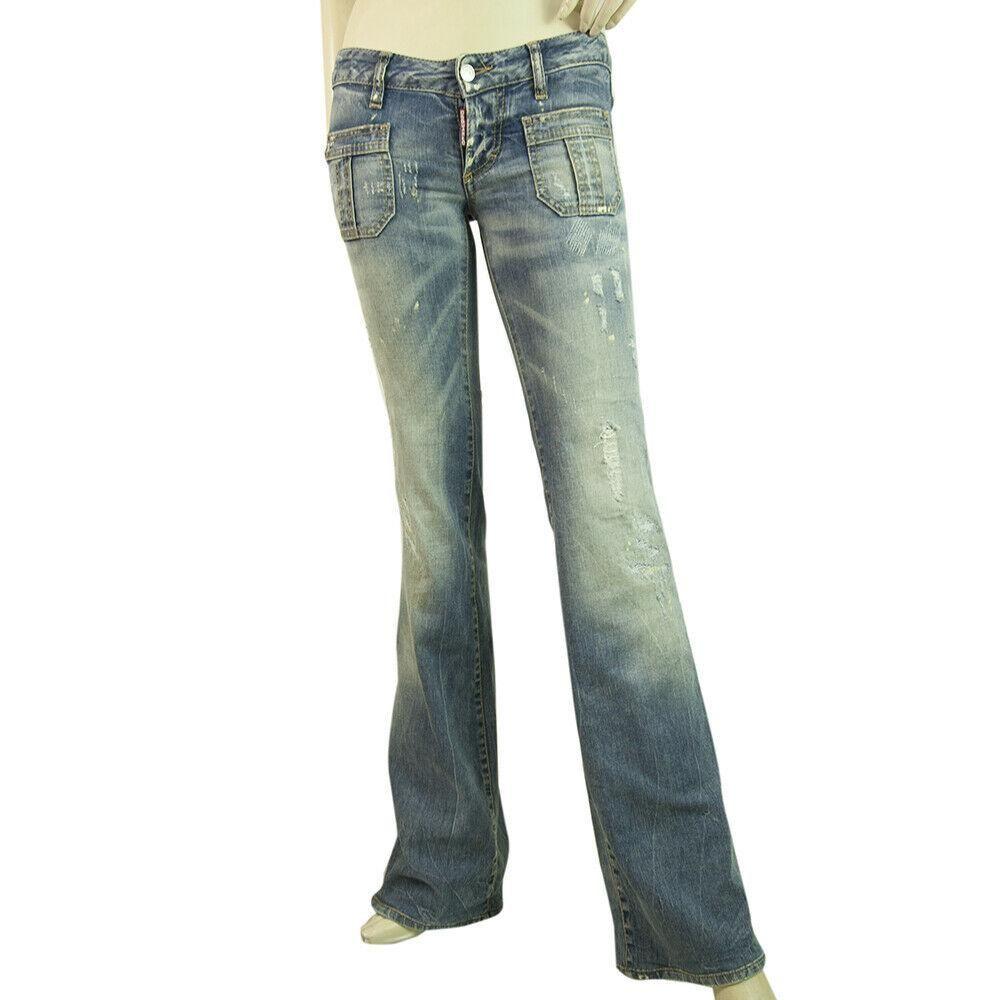 Dsquared 2 Blue Denim Jeans Low Rise Distressed