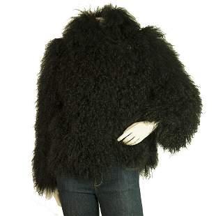 Diane Von Furstenburg DVF Black Lamb Fur Shearling Long