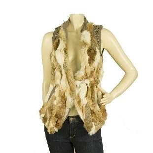 Patricia Pepe Beige Lapin Fur Wool Back Studded Vest