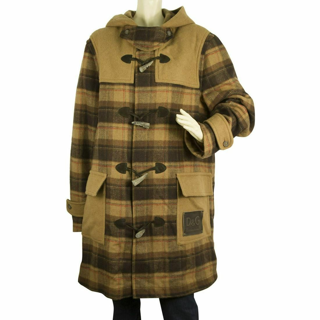 Dolce & Gabbana D&G Brown Beige Hooded Checked Wool