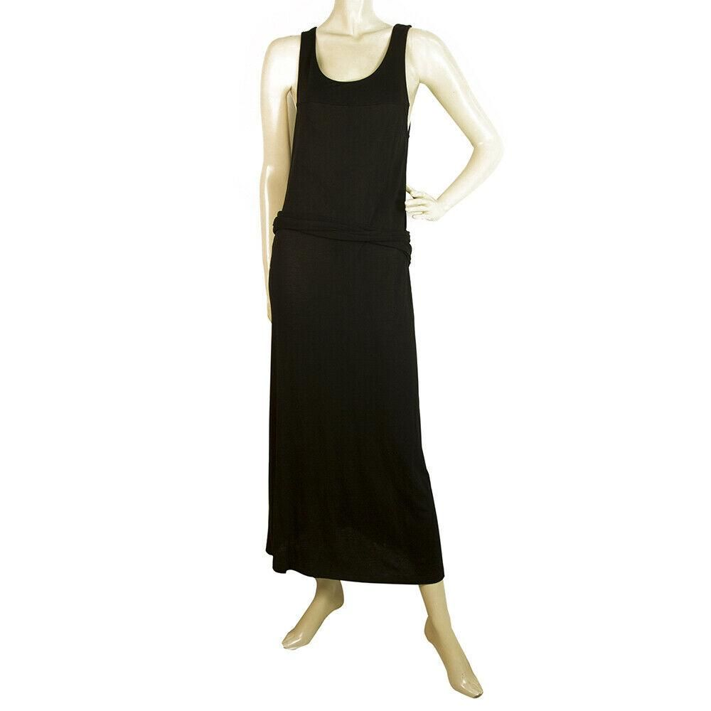 James Perse Black Sleeveless Tie at the Hips Long Maxi