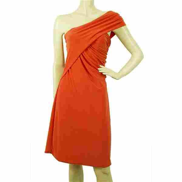 5226 by Cilia Kritharioti Orange One Shoulder Draped