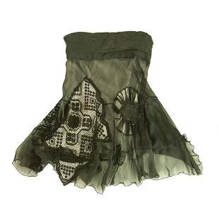 Black w. Cream Inner Skirt & Lace Patchwork Panels Silk